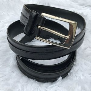 Cole Haan Men Belt Genuine Leather Black Waistband